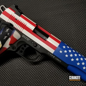 Cerakoted 1911 Handgun With A Cerakote American Flag Finish