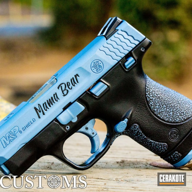 Cerakoted: SHOT,M&P Shield 9mm,Gloss Black H-109,Distressed,Smith & Wesson,Pistol,Gun Coatings,Laser Engrave,Smith & Wesson M&P Shield,POLAR BLUE H-326,M&P Shield