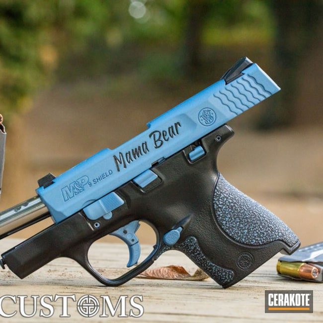 Cerakoted M&p Shield 9mm Cerakoted With Polar Blue And Gloss Black Accents