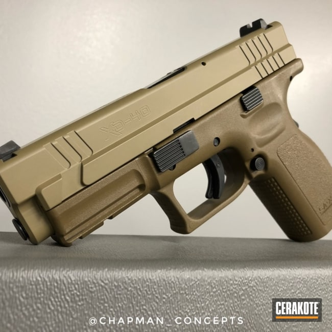 Springfield XD-40 Cerakoted with H-235 Coyote Tan