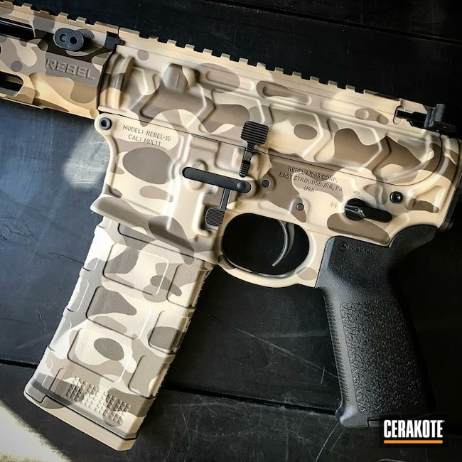 Rebel Arms Rifle with a Custom Cerakote MultiCam Finish