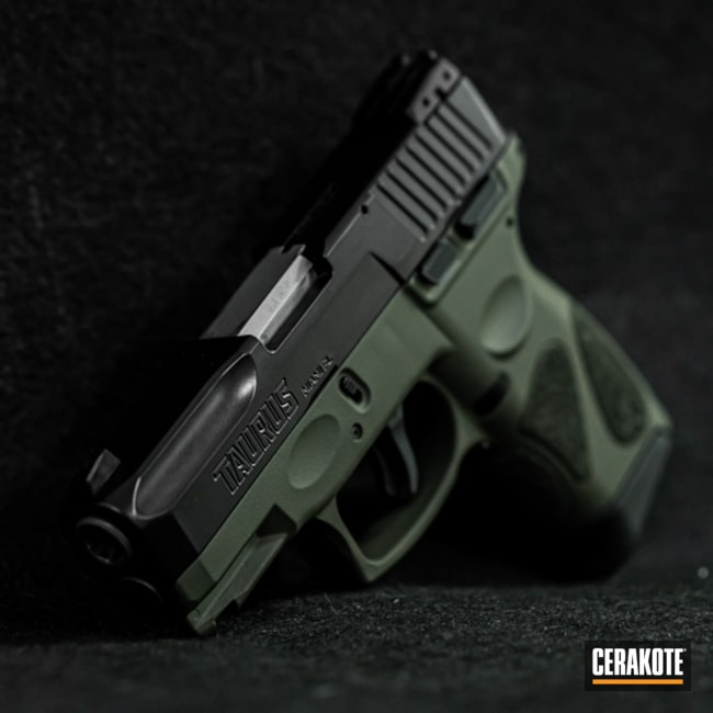 Cerakoted Two Toned Taurus Handgun In E-100 Blackout And H-236 O.d. Green