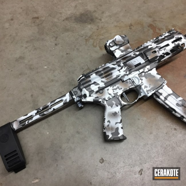 Sig Sauer MPX with a Cerakote Arctic Camo Finish
