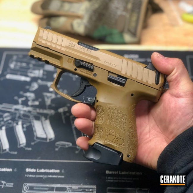 Cerakoted: Noveske Tiger Eye Brown H-187,S.H.O.T,VP9,Custom,Vp9sk,Pistol,Heckler & Koch,Gun Coatings,H&K,Remastered