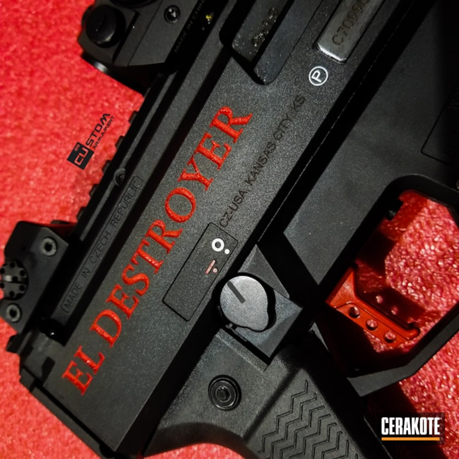 "Thumbnail image for project ""Laser Engraved CZ Scorpion with Cerakoted C-143 Stoplight Red"""