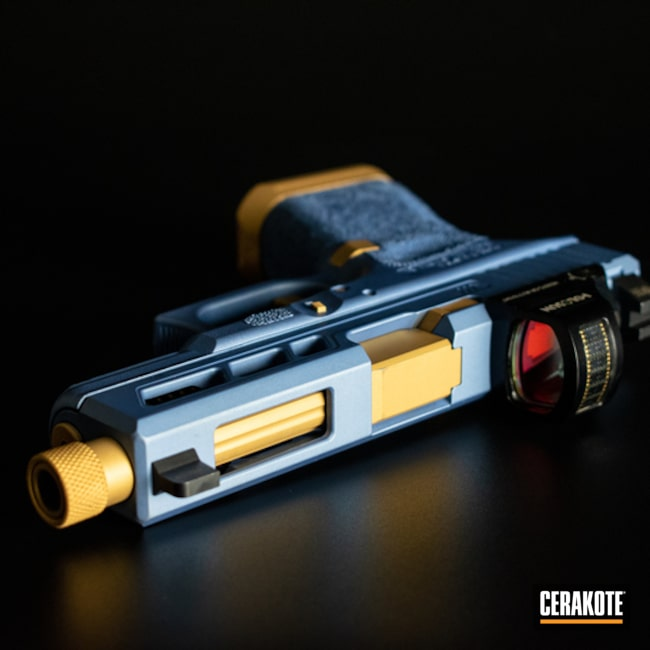 Cerakoted: S.H.O.T,Glock 19,Two Tone,Pistol,Glock,Gun Coatings,Gold H-122,POLAR BLUE H-326