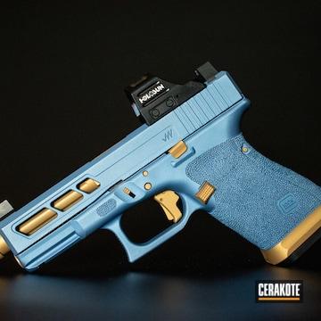 Cerakoted Custom Glock 19 Handgun Cerakoted With H-122 Gold And H-326 Polar Blue
