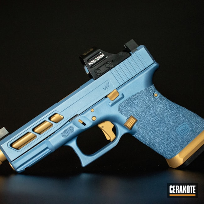 Cerakoted Custom Glock 19 Handgun Cerakoted With H-122 Gold And H-326 Polar Blue