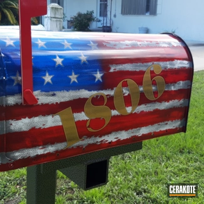 Mailbox with an American Flag Cerakote Finish