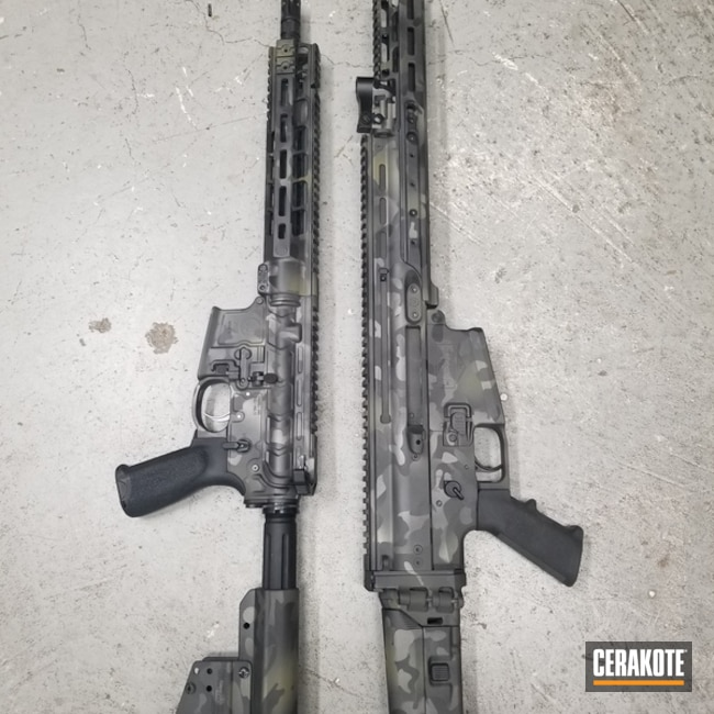 Matching Cerakote MultiCam Finish on this SCAR and AR-15 Rifles