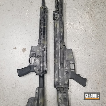 Cerakoted Matching Cerakote Multicam Finish On This Scar And Ar-15 Rifles
