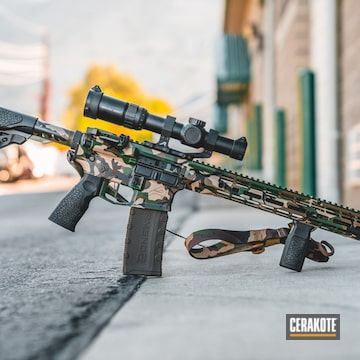 Cerakoted Cerakote Woodland Multicam Finish On This Aero Precision Rifle