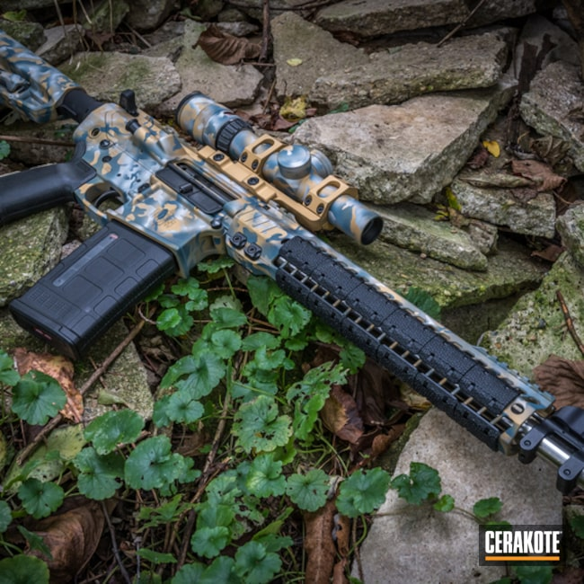 Cerakoted: S.H.O.T,MultiCam,Satin Aluminum H-151,Tactical Rifle,Gun Coatings,Gold H-122,Blue Titanium H-185