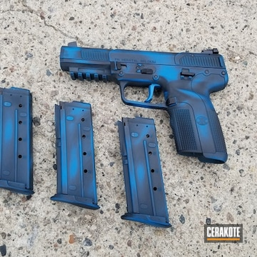 Cerakoted Distressed Blue And Black Fn Five-seven Handgun