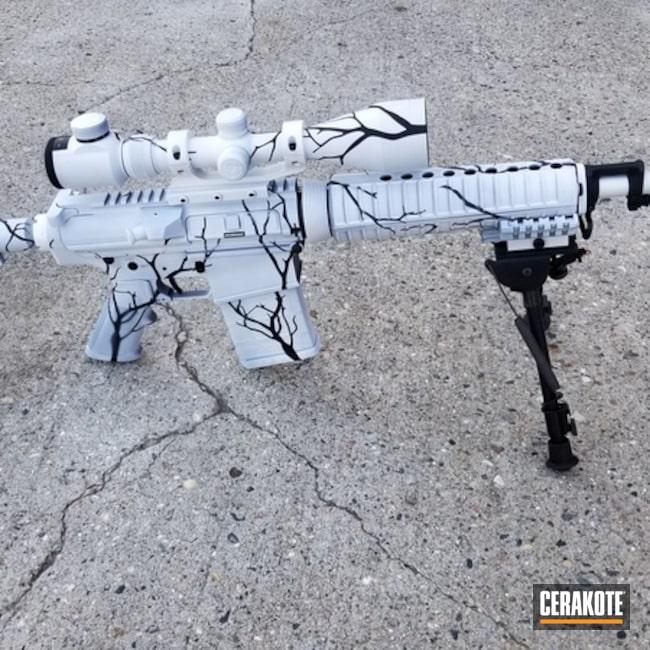 Cerakoted: S.H.O.T,Rifle,BR-308,Scope Mount,Tactical Rifle,Winter Camo,AR 10,Bright White H-140,Winter,Bushmaster BR-308,Coyote Gun,Graphite Black H-146,AR-10,Gun Coatings,AR Rifle,Bushmaster,Tree Camo,tree