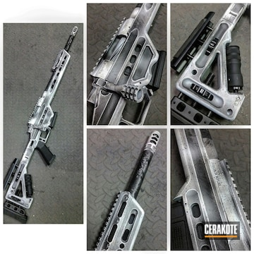 Cerakoted Surgeon Rifles Bolt Action Rifle With A Cerakote Snow Camo Finish