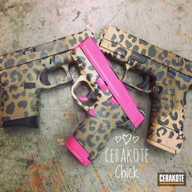 Assorted Handguns Cerakoted with a Custom Leopard Print Finish