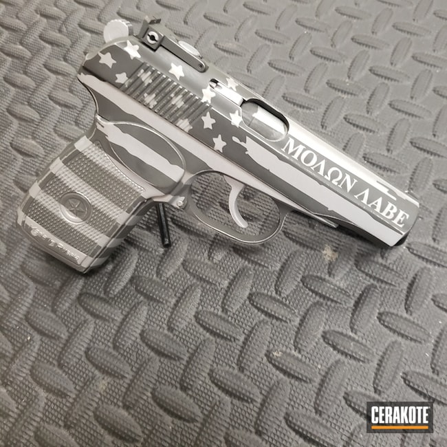 Makarov Handgun with a Two Toned American Flag Finish