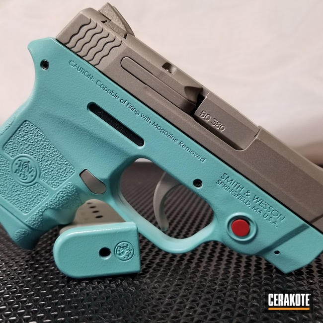 Smith & Wesson M&P Cerakoted with H-175 Robin's Egg Blue and H-158 Shimmer Aluminum