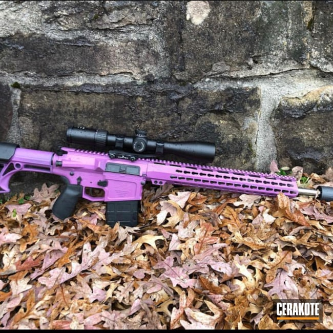 Two Toned Tactical Rifle Cerakoted with H-224 Sig Pink