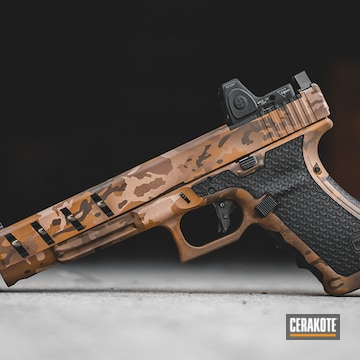Cerakoted Glock 40 Handgun With Custom Cerakote Arid Multicam Finish