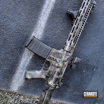 Cerakoted Ar-15 With A Custom Freehand Camo Finish