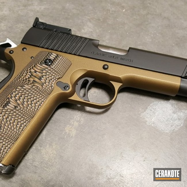 Cerakoted: S.H.O.T,Kimber 1911,Kimber,Two Tone,Kimber Classic Gold Match,Burnt Bronze H-148,Armor Black H-190,Pistol,Gun Coatings,1911
