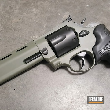Cerakoted Two Toned Taurus 44 Magnum Revolver With Cerakote H-240, H-234 And E-120