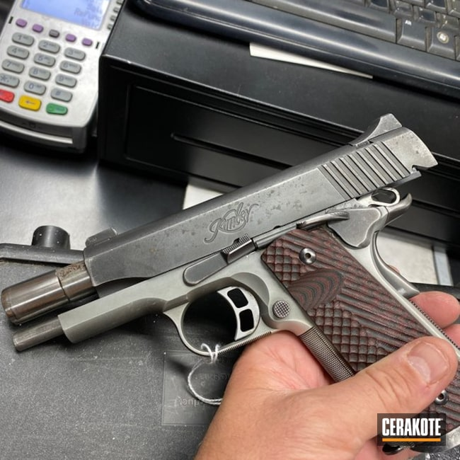 Cerakoted: S.H.O.T,Kimber 1911,Graphite Black H-146,VORTEX® BRONZE H-293,Kimber,Two Tone,Kimber Tactical Pro II,Pistol,Gun Coatings,1911,Before and After,VORTEX® BRONZE C-293
