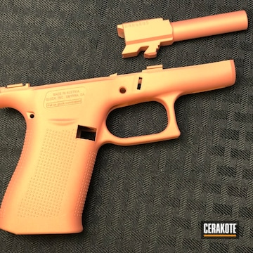 Cerakoted Glock Frame And Barrel Cerakoted With H-122 Gold