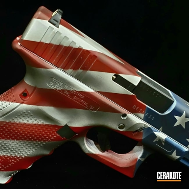 Cerakoted: S.H.O.T,Glock 19,Snow White H-136,Graphite Black H-146,USMC Red H-167,Pistol,American Flag,KEL-TEC® NAVY BLUE H-127,Glock,Gun Coatings