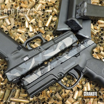 Cerakoted Glock 17 And Steyr Handguns With Matching Cerakote Splinter Camo Finish