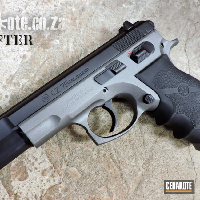 Cerakoted: S.H.O.T,Two Tone,Restoration,Tungsten H-237,Pistol,Before and After,FIREHOUSE RED H-216,Hogue grip,Graphite Black H-146,CZ 75,CZ,Gun Coatings,Handguns,Solid Color