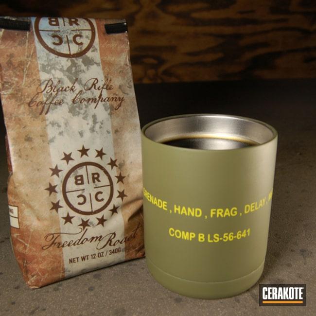 Cerakoted: Coffee,YETI Cup,More Than Guns,Black Rifle Coffee,Noveske Bazooka Green H-189,Custom Tumbler Cup,Tumbler,Frag Grenade,Electric Yellow H-166,Lifestyle,YETI,m67,Grenade