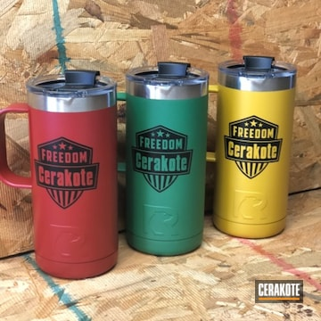 Cerakoted Tumbler Cups Cerakoted With H-318, H-317 And H-316