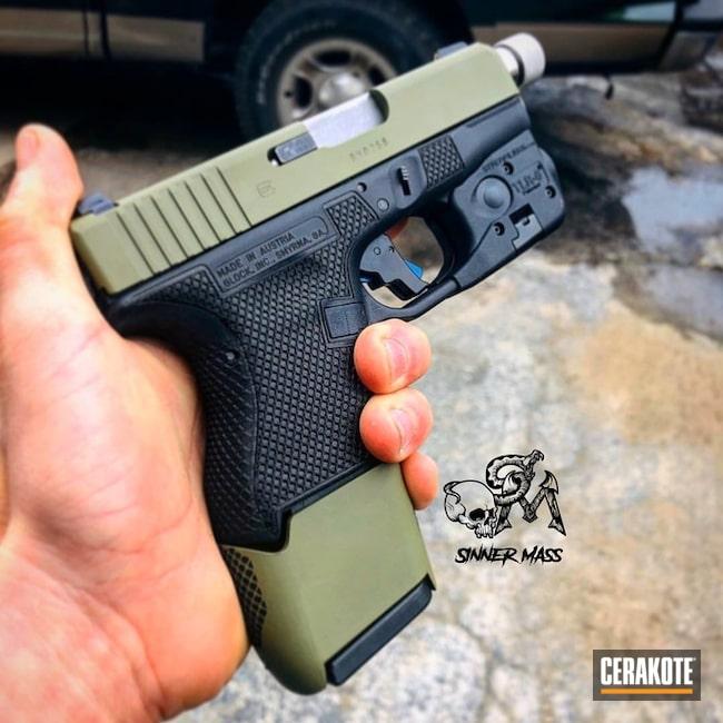 Cerakoted: S.H.O.T,Two Tone,Stippled,Pistol,Glock,Glock 27,Gun Coatings,Noveske Bazooka Green H-189,Laser Engrave
