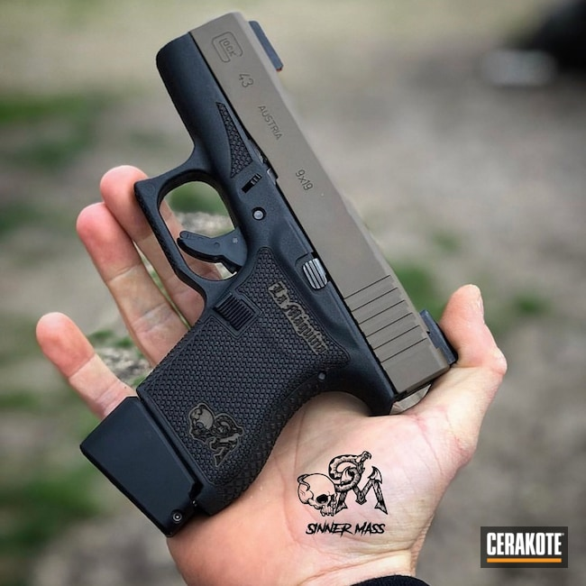 Cerakoted Custom Engraved And Stippled Glock 43 Handgun With Cerakote H-261