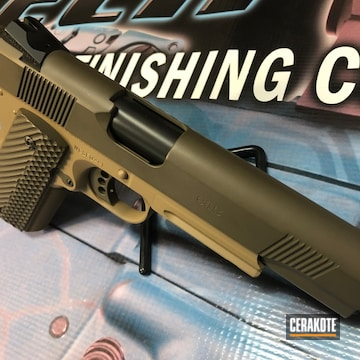 Cerakoted Two Toned Wilson Combat Handgun Cerakoted With H-226 And H-225