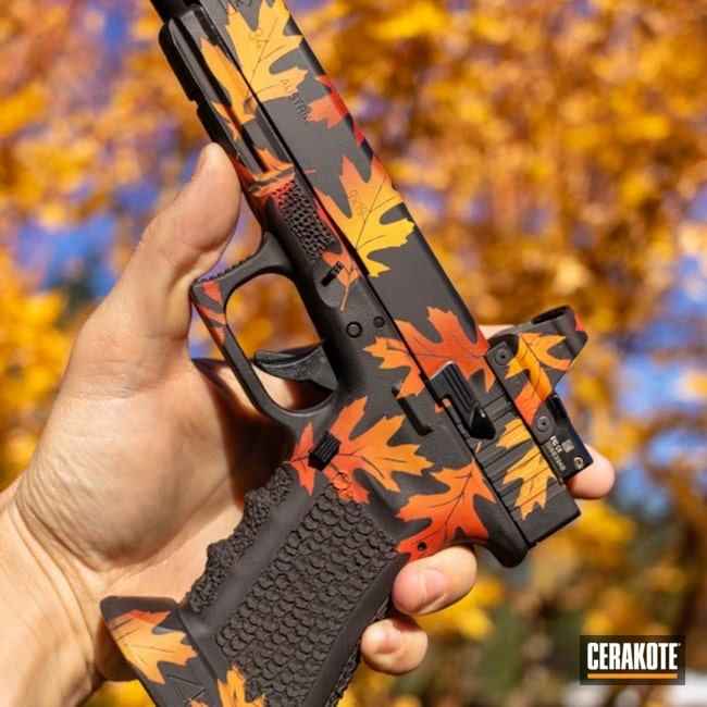 Fall Themed Cerakote Finish on this Glock 34 Handgun