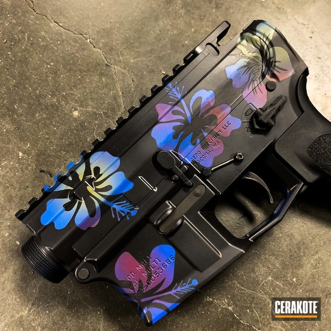 Aero Precision Upper / Lower with a Hawaiian Themed Cerakote Finish