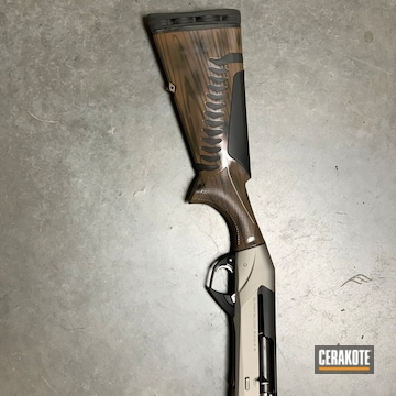 Cerakoted Shotgun With A Custom Cerakote Wood Grain Finish