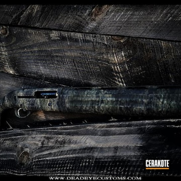 Cerakoted Custom Cerakote Dead Oak Camouflage On This Shotgun