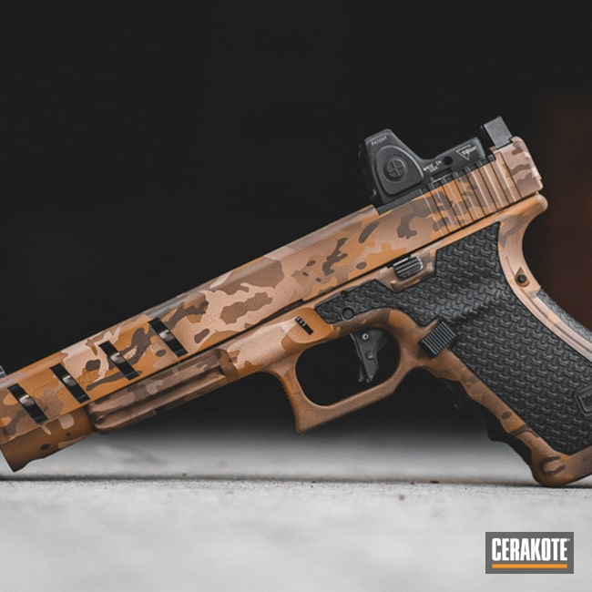 Cerakoted: S.H.O.T,MultiCam Black Arid,Arid MultiCam,Armor Black H-190,Pistol,Glock 40,Arid,CADEX TAN H-308,FS BROWN SAND H-30372,MultiCam,Glock,Gun Coatings,Chocolate Brown H-258