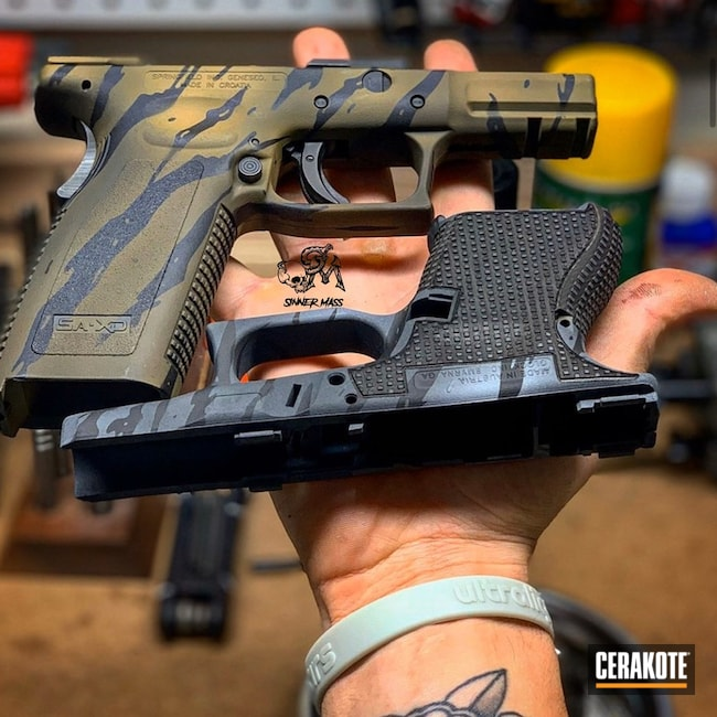 "Thumbnail image for project ""Pistol Frames with a Tiger Stripe Cerakote Finish"""