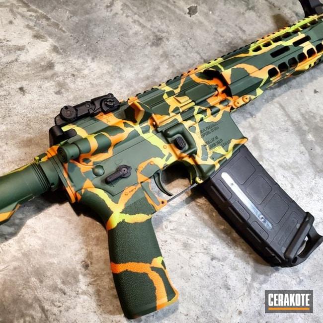 Cerakoted: Zombie Green H-168,Tactical Rifle,Custom Camo,.300 Blackout,Gold H-122,SHOT,Radical Firearms,AR Pistol,Camo,Forest Green H-248,Fractured Camo,Gun Coatings,Hunter Orange H-128,AR-15,Ladies