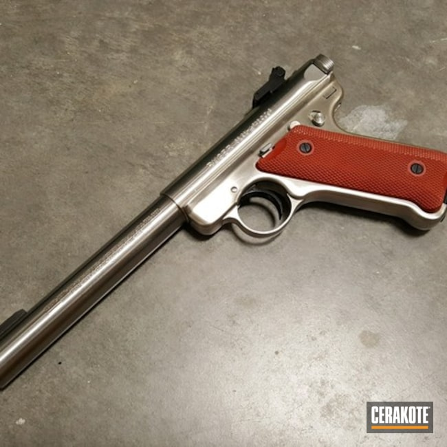 Ruger Mark II Target Handgun Cerakoted with H-221 Crimson