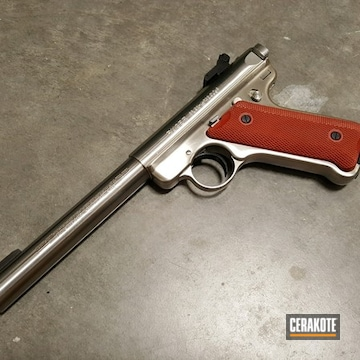 Cerakoted Ruger Mark Ii Target Handgun Cerakoted With H-221 Crimson