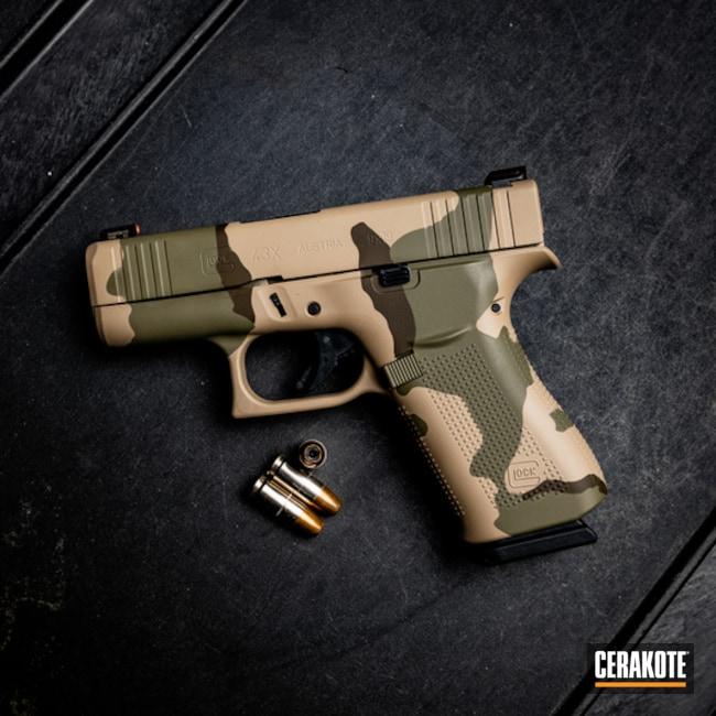 Cerakoted: S.H.O.T,Glock 43X,FS BROWN SAND H-30372,DCU Camo,Tri-Color,Pistol,Glock,Forest Green H-248,Gun Coatings,Glock 43,Chocolate Brown H-258