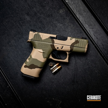 Cerakoted Glock 43x Handgun With A Tri-color Cerakote Finish