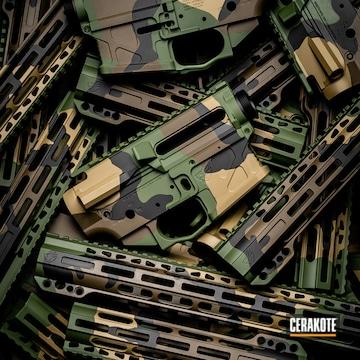 Cerakoted Upper / Lower Gun Parts With A Woodland Cerakote Finish